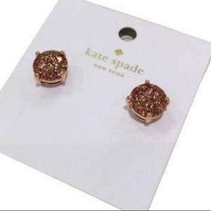 Kate Spade rose gold glitter earrings NWT!